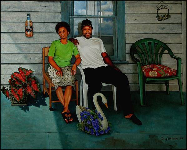 Doug Strickland Poster featuring the painting Edna And Sammy Of Johnston County by Doug Strickland