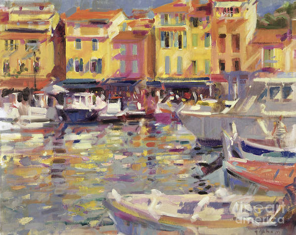 Fishing Boats; Boat; Port; Mediterranean; South Of France; French; Cote Dazur; Summer; Riviera; Harbour; Cassis Poster featuring the painting Harbor At Cassis by Peter Graham