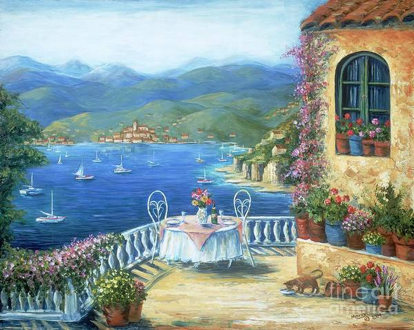 Cat Poster featuring the painting Italian Lunch On The Terrace by Marilyn Dunlap