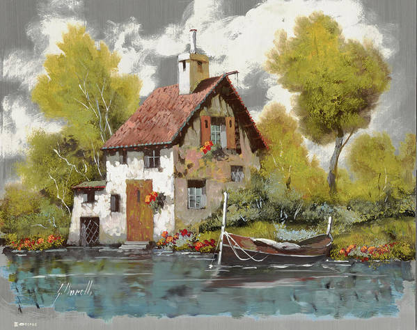 Oil On Silver Poster featuring the painting La Barca by Guido Borelli