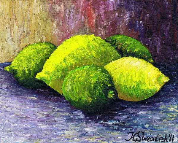 Lemons And Limes Poster featuring the painting Lemons And Limes by Kamil Swiatek