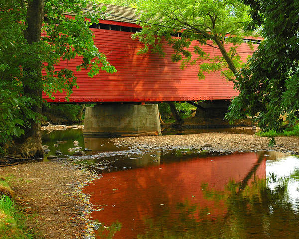 Rural Country Covered Bridge Stream Bed Creek Nature Trees Reflection Old Transportation Maryland Thurmont Outdoor Landscape Photograph Shore River Red Farm Color Water Peace Peaceful Scene Green Civil War Meade History Historical Register Poster featuring the photograph Loys Station Bridge. Thurmont Maryland by Matthew Saindon