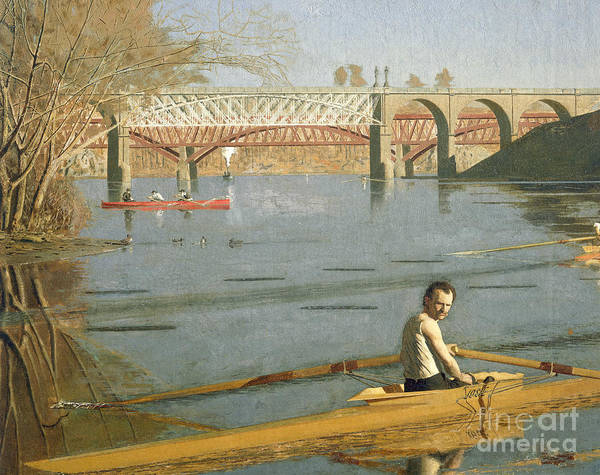 Max Poster featuring the painting Max Schmitt In A Single Scull by Thomas Eakins