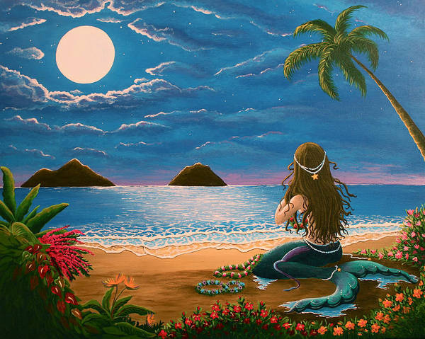 Tropical Poster featuring the painting Mermaid Making Leis by Gale Taylor