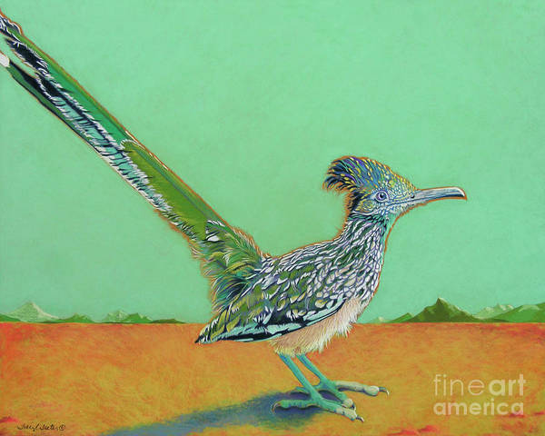 Roadrunner Poster featuring the pastel Of Two Minds by Tracy L Teeter