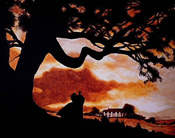 Gone With The Wind Poster featuring the painting Overlooking Tara At Sunset by Al Molina