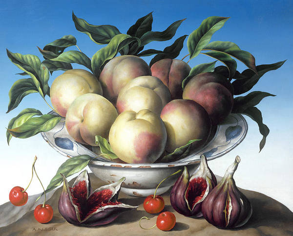 Fruit; Still Life; Fig; Peach; Plenty; Bountiful; Cherry; Cherries; Leaves; Food; Abundance; Bowl; Delft Bowl; Figs; Peaches Poster featuring the painting Peaches In Delft Bowl With Purple Figs by Amelia Kleiser
