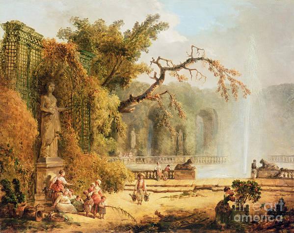 Romantic Poster featuring the painting Romantic Garden Scene by Hubert Robert