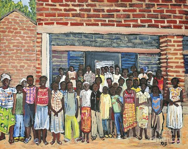 Africa Poster featuring the painting School Class Burkina Faso Series by Reb Frost