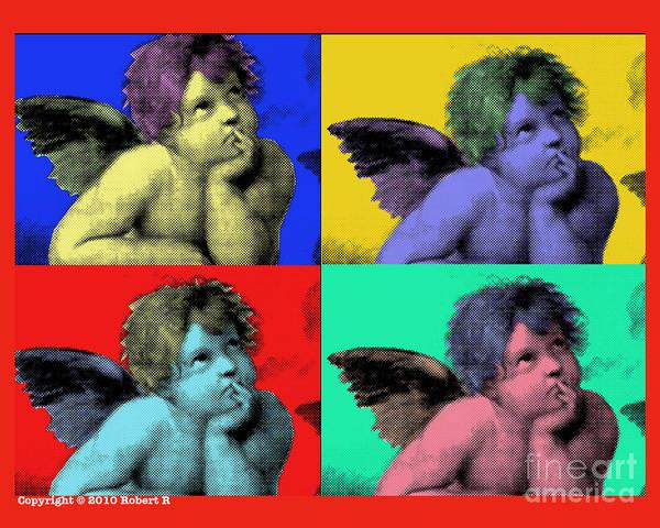 Sisteen Chapel Poster featuring the painting Sisteen Chapel Cherub Angels After Michelangelo After Warhol Robert R Splashy Art Pop Art Prints by Robert R Splashy Art