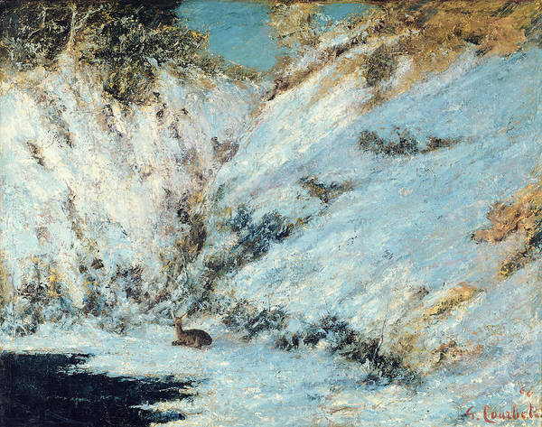 Snowy Poster featuring the painting Snowy Landscape by Gustave Courbet