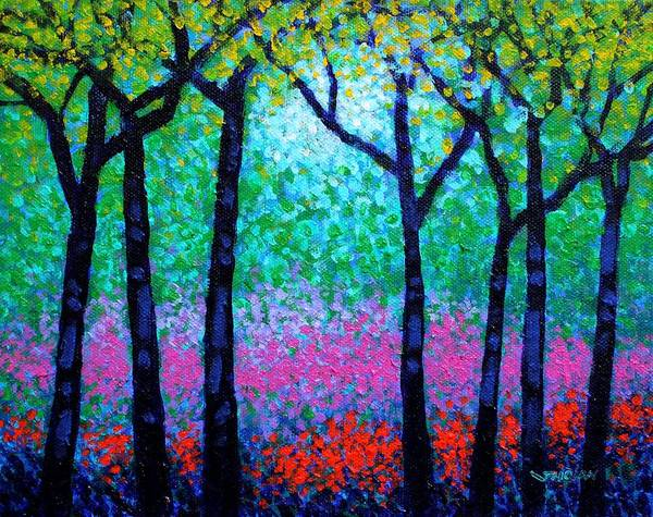 Landscape Poster featuring the painting Spring Woodland by John Nolan