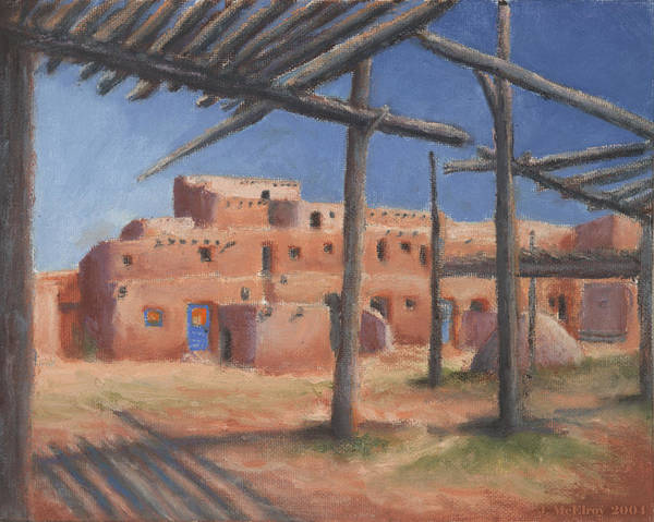 Taos Poster featuring the painting Taos Pueblo by Jerry McElroy