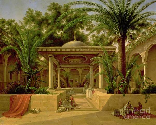 The Poster featuring the painting The Khabanija Fountain In Cairo by Grigory Tchernezov