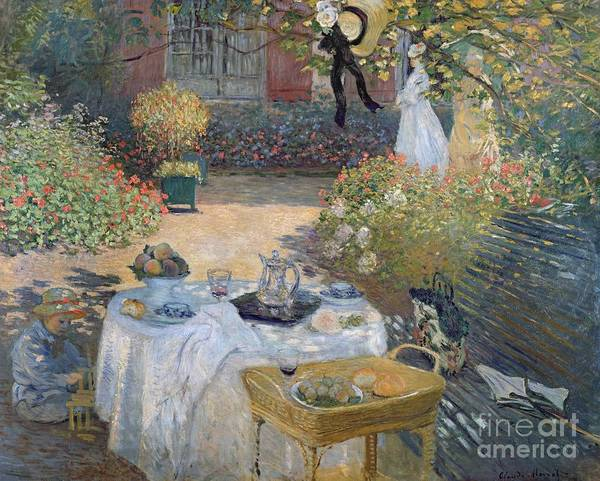 The Luncheon: Monet's Garden At Argenteuil Poster featuring the painting The Luncheon by Claude Monet