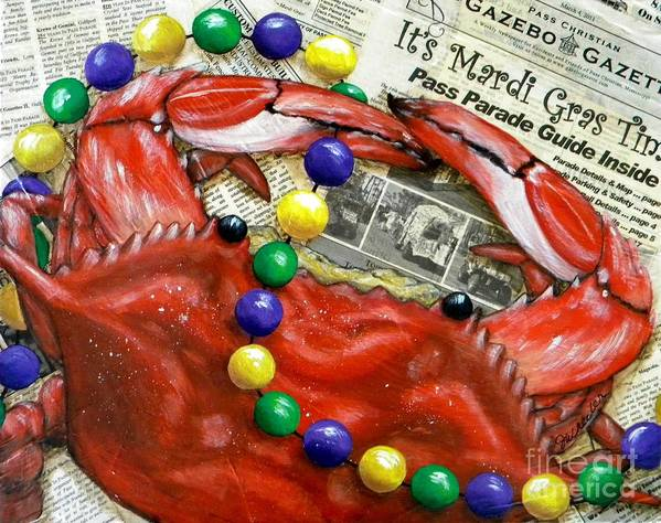 Crawfish Poster featuring the painting Throw Me Somethin by JoAnn Wheeler