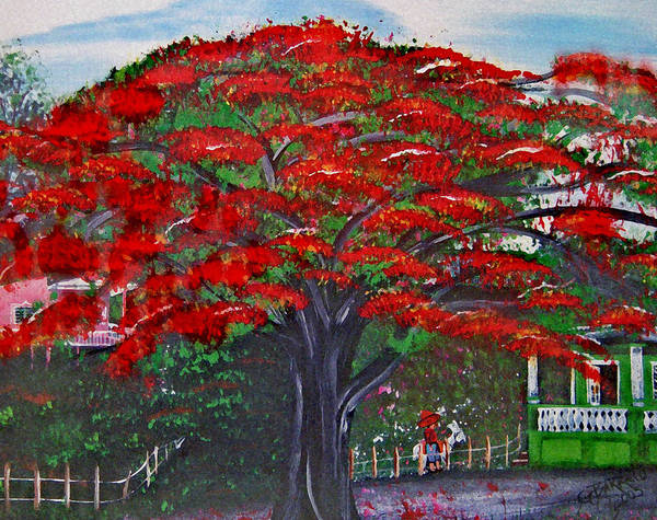Flamboyant Tree Poster featuring the painting Treasures Of Puerto Rico by Gloria E Barreto-Rodriguez