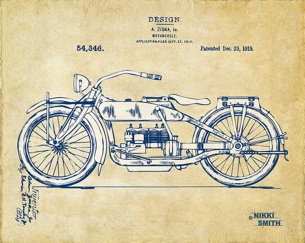 Harley-davidson Poster featuring the drawing Vintage Harley-davidson Motorcycle 1919 Patent Artwork by Nikki Smith