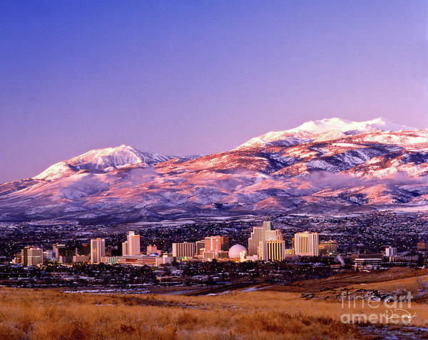 Fine Art Photography Poster featuring the photograph Winter Skyline Of Reno Nevada by Vance Fox