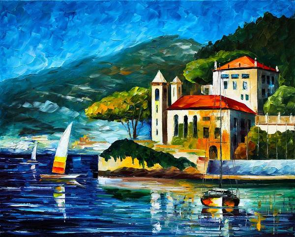 Afremov Poster featuring the painting Italy Lake Como Villa Balbianello by Leonid Afremov