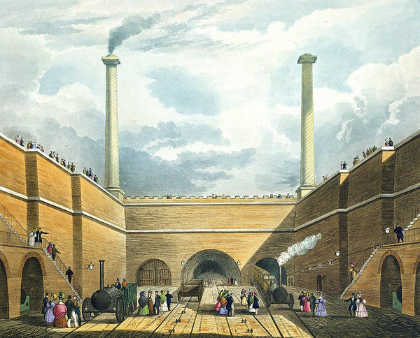 Chimney Poster featuring the drawing Entrance Of The Railway At Edge Hill by Thomas Talbot Bury