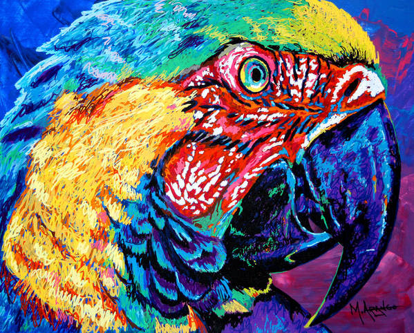 Bird Poster featuring the painting Rainbow Macaw by Maria Arango