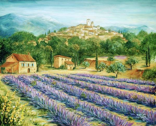 Europe Poster featuring the painting Saint Paul De Vence And Lavender by Marilyn Dunlap