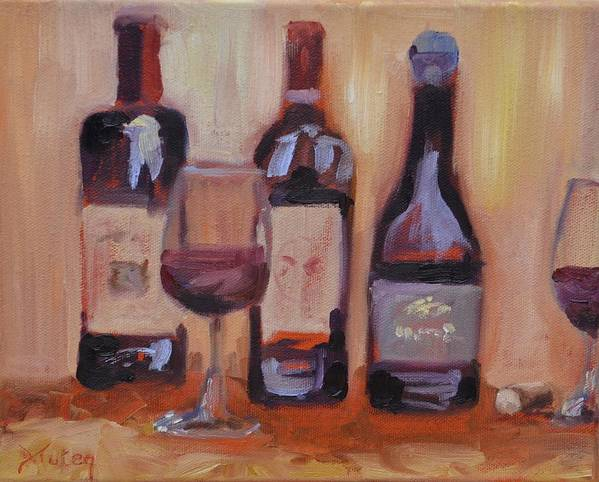 Wine Poster featuring the painting Wine Bottle Trio by Donna Tuten