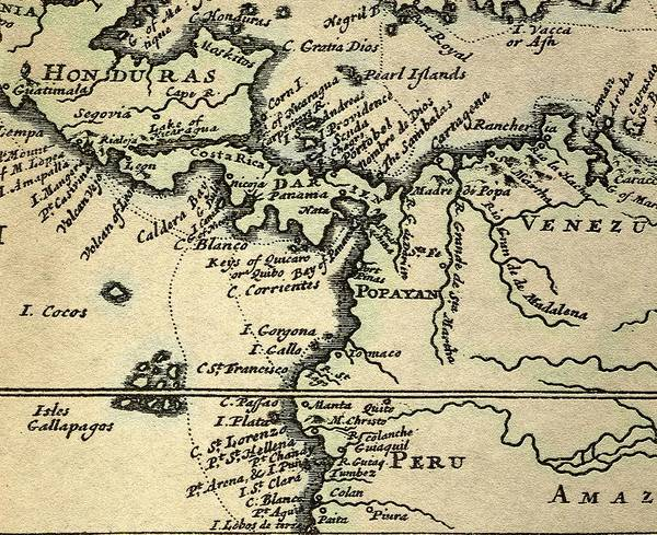 17th Century Poster featuring the photograph 1698 W. Dampier Pirate Naturalist Map by Paul D Stewart