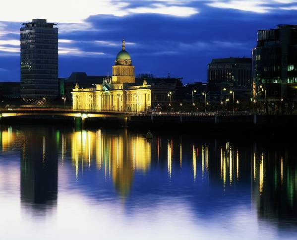 Cloud Poster featuring the photograph Customs House And Liberty Hall, River by The Irish Image Collection