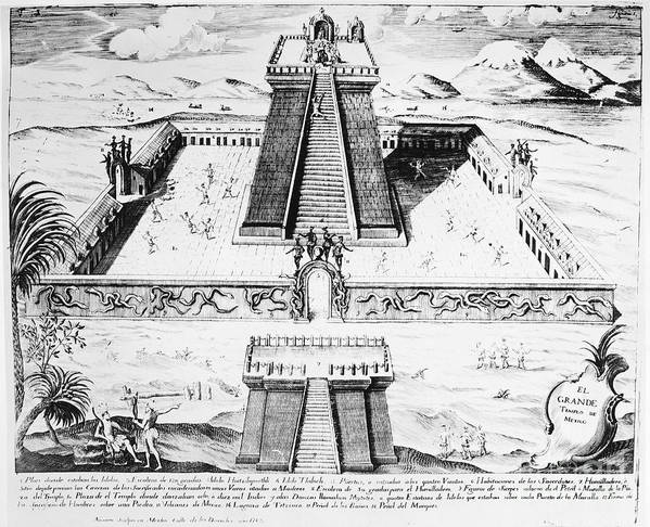 1765 Poster featuring the photograph Mexico: Aztec Temple, 1765 by Granger