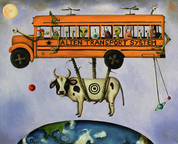 School Bus Poster featuring the painting Alien Transport System by Leah Saulnier The Painting Maniac