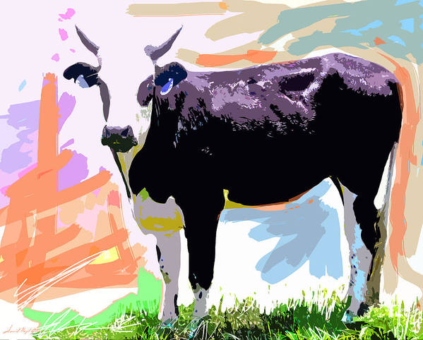 Cows Poster featuring the painting Cow Time by David Lloyd Glover