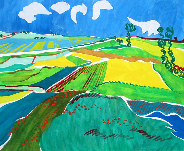 Landscape Poster featuring the painting Moravian Landscape by Vitali Komarov