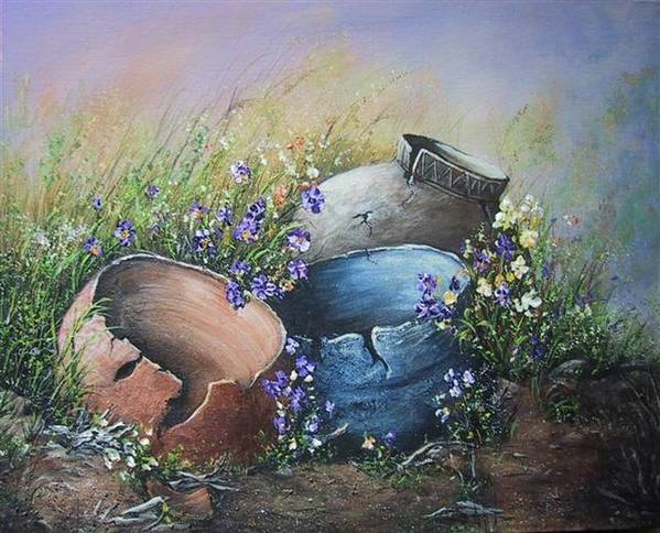 Pottery Poster featuring the painting Old Crocks by Theresa Jefferson