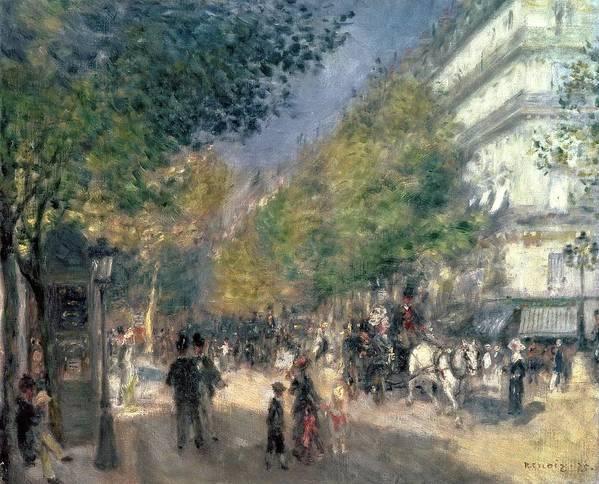 Impressionist; Paris; Haussmann; Street Scene; France; Crt Poster featuring the painting The Boulevards by Pierre Auguste Renoir