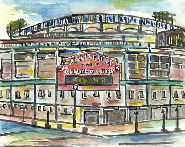 Baseball Poster featuring the painting Wrigley Field by Matt Gaudian