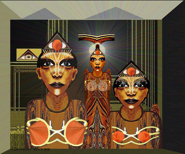 Woman Poster featuring the digital art 338 - Aliens With Egyptian Touch by Irmgard Schoendorf Welch