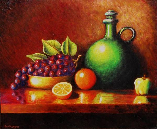Still Life... Jug Poster featuring the painting Fruit And Jug by Gene Gregory
