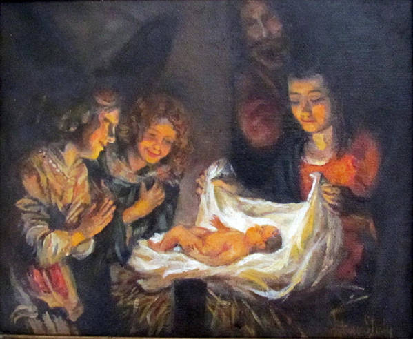 Religion Poster featuring the painting Nativity Scene Study by Donna Tucker