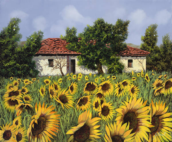 Tuscany Poster featuring the painting Tanti Girasoli Davanti by Guido Borelli