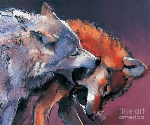 Wolf Poster featuring the painting Two Wolves by Mark Adlington