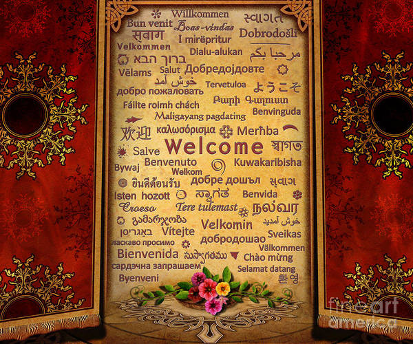 Welcome Poster featuring the digital art Welcome by Bedros Awak