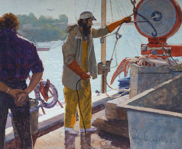 Harbour Poster featuring the painting Wieghing The Catch Graymouth by Terry Perham