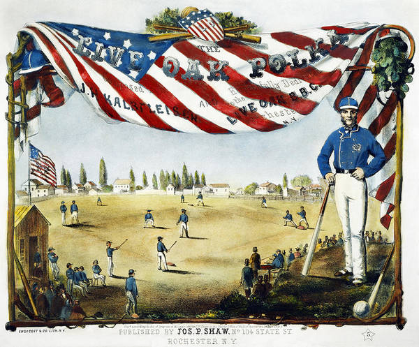 1860 Poster featuring the photograph Baseball Song Sheet, 1860 by Granger