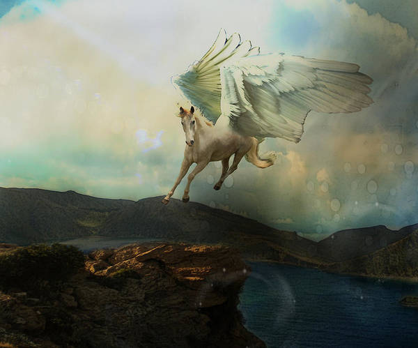 Horse Poster featuring the digital art Pegasus Flying Horse by Patricia Ridlon