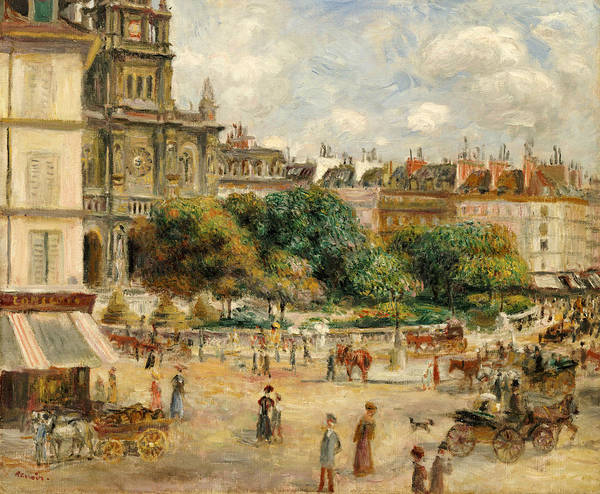 Impressionist; Impressionism; Landscape; River; Town; Tree; People Poster featuring the painting The Banks Of The Seine At Bougival by Pierre Auguste Renoir