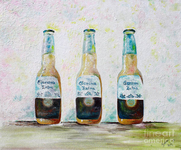 Beer Poster featuring the painting Three Amigos by Barbara Teller