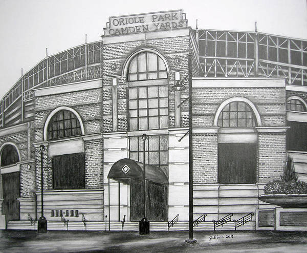 Camden Yards Poster featuring the drawing Oriole Park Camden Yards by Juliana Dube