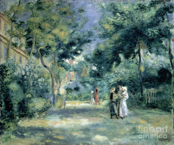The Gardens In Montmartre Poster featuring the painting The Gardens In Montmartre by Pierre Auguste Renoir